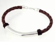 Geolin Jewellery Beyond - Scandinavian Luxury Sterling Silver Leather Bracelet, Brown