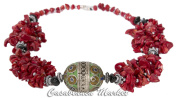 Moroccan Artisan Pewter Pendant and Glass Coral Necklace