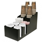 Coffee Cup and Lid Holder . Holds up to 4 Size Cups and Lids 710ml, 470ml 350ml And Smaller. Has 2 Generous Sized Stirrer Compartments. Proudly Made in the USA! by PPM.
