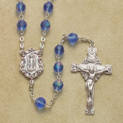 6mm Bead Saphire (AB) Rosary Rosaries with Sterling Silver Crucifix & Centrepiece in Gift Box