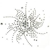 Rhinestone Transfer Hot Fix Motif Fashion Design Jewellery Wind Flower Crystal 3 Sheets 3.7*9.1cm