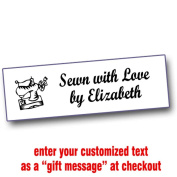 Iron On Labels for Crafters with Old Fashioned Sewing Machine Motif