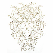 Rhinestone Iron on Transfer Hot Fix Motif Decorative Gold Tattoo Deco Fashion 3 Sheets 7*24cm