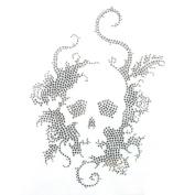 Rhinestone Iron on Transfer Hot Fix Motif Crystal Fashion Design Skull Silver 3 Sheets 7.4*26cm