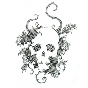 Rhinestone Iron on Transfer Hot Fix Motif Crystal Fashion Design Skull Black 3 Sheets 7.4*26cm