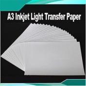 20 Sheets Durable A3 Inkjet Light Transfer Paper Heat Press DIY T-shirts Crafts