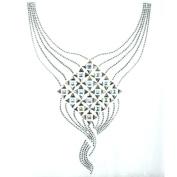 Rhinestone Iron on Transfer Hot Fix Motif Crystal Scarf V Line Fashion Design 3 Sheets 9.6*33cm