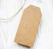 20 Gift Tags Large Brown Blank Hang tag 4.5x9.5cm with 20 Brown Strings