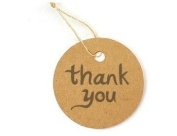 """20 Round Card Paper Tag """"thank you"""" Product Price Label with 20 Strings"""