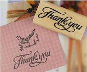Wood Rubber Thank you Stamp for Craft / Scrapbooking / Card Making - Lower case