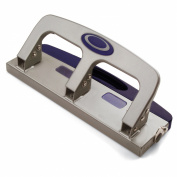 Officemate Deluxe Medium Duty 3-Hole Punch with Chip Drawer, Silver and Navy, 20-Sheet Capacity