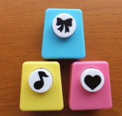 Crafts Punches Set - Heart, Note and Ribbon Colours May Vary