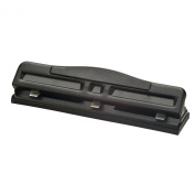 Officemate Antimicrobial 2-3 Hole Adjustable Punch with Padded Handle, 11 Sheet Capacity, Black