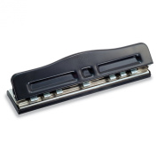 Officemate Adjustable 2-7 Hole Punch, 5-11 Sheet Capacity, Black with Chrome Trim