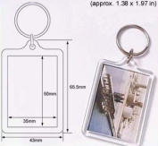 50 Pcs of Blank Clear Acrylic Keyring 35x50mm Photo Insert Craft Keychain 92033
