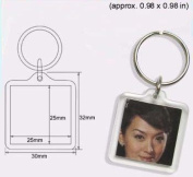 100 Pcs of Blank Clear Acrylic Square Keyring 25x25mm Photo Insert Craft Keychain F1428