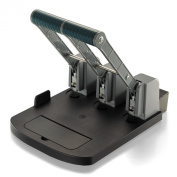 Officemate Ergonomic Super Heavy Duty 3 Hole Eco Punch, 160 Sheet Capacity, Recycled/Antimicrobial, Black/Grey/Green