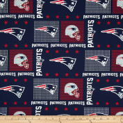 NFL Wide Cotton Broadcloth New England Patriots Patchwork Blue/Red Fabric