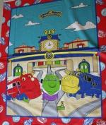 Chuggington Trains at Train Station Koko Brewster Wilson 90cm X 110cm Cotton Fabric PANEL