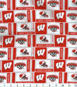 NCAA Cotton Fabric-Wisconsin Herringbone