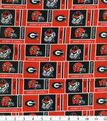 NCAA Cotton Fabric-Georgia Herringbone