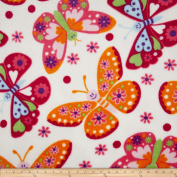 Plush Coral Fleece Tossed Butterflies White Fabric