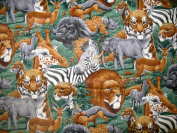 Wild ANIMALS Lined Fabric 1yd by 110cm Wide Safari Print 100% Cotton Material Lined on Underside For Sewing Projects like Tablecloths, Tablecovers, Aprons - Top Rated Quality