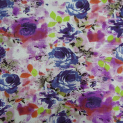 White Fabric Cotton Poplin Floral Pattern Quilting Apparel Width 100cm By the Yard