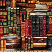 Timeless Treasures Packed Books Multi Fabric
