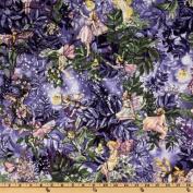 Michael Miller Night Flower Fairies Allover Fairies Nite Purple Fabric
