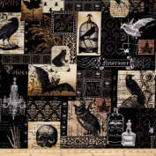 Michael Miller Nevermore Collection Nevermore Collage Urban Grit White Fabric