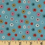 Beautiful Garden Girl Tossed Flowers Turquoise Fabric