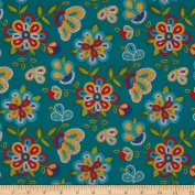 Tucson Beaded Floral Turquoise Fabric