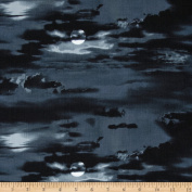 Hoo's Tree Sky Black Fabric