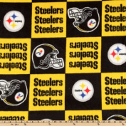 150cm Wide NFL Fleece Pittsburgh Steelers Squares Yellow/Black Fabric By The Yard