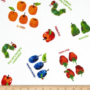 The Very Hungry Caterpillar Dots Small Scattered Fruit White Fabric