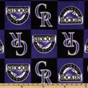 MLB Fleece Colorado Rockies Squares Purple/Black Fabric