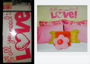 """Hip in a Hurry Peel-n-Stick Pink Wall Words & Graphics - """"All you need is LOVE"""""""