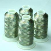 ThreadsRus 4 MULTICOLOR METALLIC MACHINE EMBROIDERY THREAD CONES