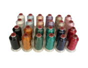 24-cone Polyester Embroidery Thread Kit - 12 Basic Colours 2 Cones of Each - 1100 Yards - 40wt
