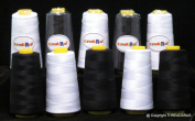 New ThreadsRus 3000mts Extra Large Cones BLACK & WHITE Spools of 2-PLY Polyester Sewing Quilting Serger threads