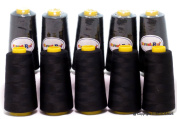 New ThreadNanny 3000mts X-large Cones BLACK CONES POLYESTER Sewing Quilting Serger threads - 10 CONES
