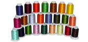 24-cone Polyester Bobbin Embroidery Thread Kit - 24 colours - 1100 yards - 60wt