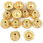 Bali Rope Bead End Caps Gold Plated 9.5mm Approx 12Pcs