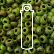 MATTE PICASSO CHARTREUSE MIYUKI SEED BEADS APPX 22GM TUBE 8/0 ROUND