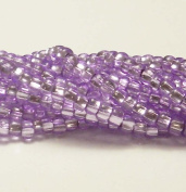 Amethyst Purple Solgel Silver Lined Czech 6/0 Seed Bead on Loose Strung 6 String Hank Approx 900 Beads