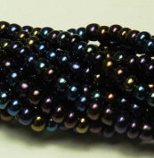 JET Black Ab Czech 6/0 Seed Bead on Loose Strung 6 String Hank Approx 900 Beads