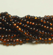 Dark Topaz Brown Silver Lined Czech 6/0 Seed Bead on Loose Strung 6 String Hank Approx 900 Beads