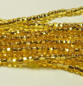 Gold Light Topaz Silver Lined Czech 6/0 Seed Bead on Loose Strung 6 String Hank Approx 900 Beads