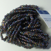 Black Diamond (Smoke) Ab Copper Lined Czech 6/0 Seed Bead on Loose Strung 6 String Hank Approx 900 Beads
